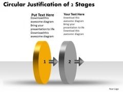 Circular Justification Of 2 Stages Work Flow Chart PowerPoint Templates
