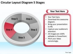 Circular Layout Diagram 5 Stages Business Plan PowerPoint Slides