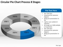 Circular Pie Chart Process 8 Stages Business Plan PowerPoint Slide