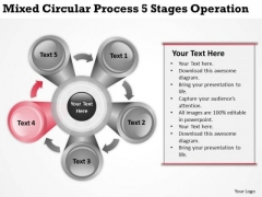 Circular Process 5 Stages Operation Ppt Writing Business Plan Template PowerPoint Slides