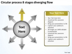 Circular Process 8 Stages Diverging Flow Cycle Network PowerPoint Slides