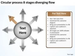 Circular Process 8 Stages Diverging Flow Layout Network PowerPoint Templates