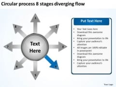 Circular Process 8 Stages Diverging Flow Motion Diagram PowerPoint Templates