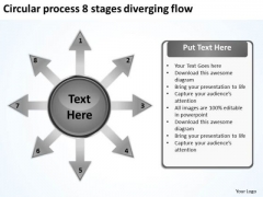 Circular Process 8 Stages Diverging Flow Motion PowerPoint Slides
