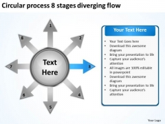 Circular Process 8 Stages Diverging Flow Venn Network PowerPoint Templates
