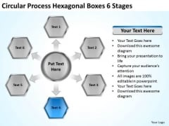 Circular Process Hexagonal Boxes 6 Stages Business Continuity Plan PowerPoint Slides