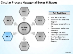 Circular Process Hexagonal Boxes 6 Stages Ppt Business Plan Writers PowerPoint Templates