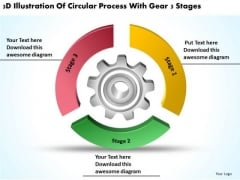 Circular Process With Gear 3 Stages Business Plan PowerPoint Slides