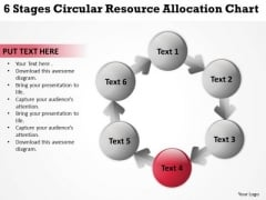 Circular Resource Allocation Chart Template For Business Plan PowerPoint Slides