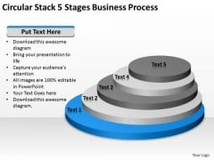 Circular Stack 5 Stages Business Process Ppt Building Plan PowerPoint Templates