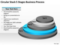 Circular Stack 5 Stages Business Process Ppt How Do Write Plan PowerPoint Slides
