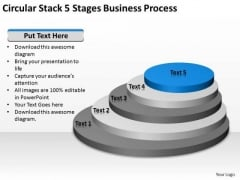 Circular Stack 5 Stages Business Process Ppt Plan Write PowerPoint Slides