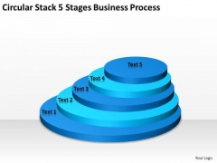Circular Stack 5 Stages Business Process Sample Daycare Plan PowerPoint Templates
