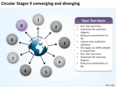 Circular Stages 9 Converging And Diverging Motion Process PowerPoint Templates