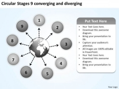 Circular Stages 9 Converging And Diverging Venn Chart PowerPoint Templates