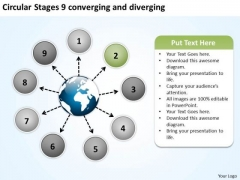 Circular Stages 9 Converging And Diverging Venn Diagram PowerPoint Slides