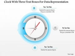 Clock With Three Text Boxes For Data Representation Presentation Template