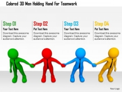 Colored 3d Men Holding Hand For Teamwork