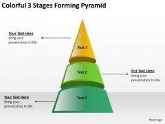 Colorful 3 Stages Forming Pyramid New Business Plan PowerPoint Slides