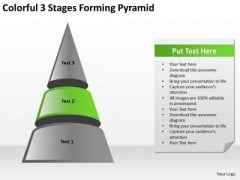 Colorful 3 Stages Forming Pyramid Ppt Sample Of Small Business Plan PowerPoint Templates