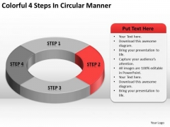 Colorful 4 Steps In Circular Manner Business Plan PowerPoint Slides