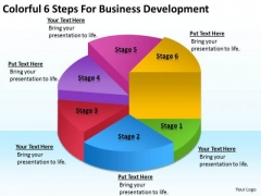 Colorful 6 Steps For Business Development Plan PowerPoint Templates