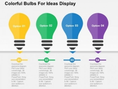 Colorful Bulbs For Ideas Display PowerPoint Templates