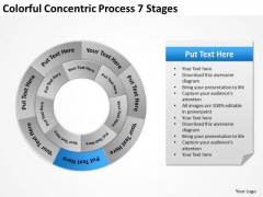 Colorful Concentric Process 7 Stages Business Plan Models PowerPoint Templates