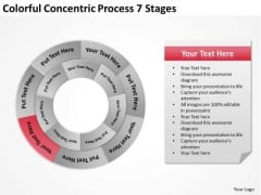 Colorful Concentric Process 7 Stages Business Plan PowerPoint Slides