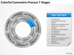 Colorful Concentric Process 7 Stages Business Plan Programs PowerPoint Slides