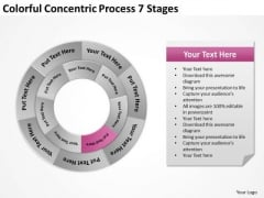 Colorful Concentric Process 7 Stages Business Plan Template PowerPoint Template