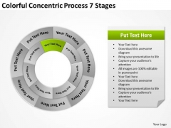 Colorful Concentric Process 7 Stages Business Plan Template PowerPoint Templates