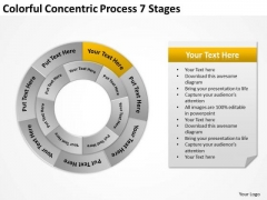 Colorful Concentric Process 7 Stages Business Planning PowerPoint Slides