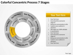 Colorful Concentric Process 7 Stages Business Plans For PowerPoint Slides