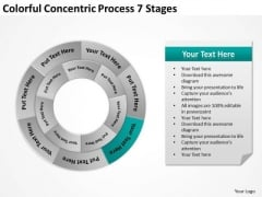Colorful Concentric Process 7 Stages Business Plans PowerPoint Slides
