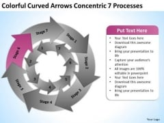 Colorful Curved Arrows Concentric 7 Processess Ppt Business Plan Help PowerPoint Templates