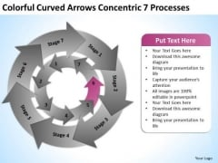 Colorful Curved Arrows Concentric 7 Processess Ppt Business Plan Sample Pdf PowerPoint Slide