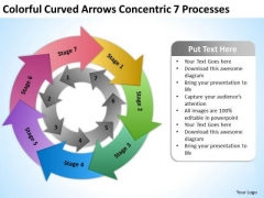 Colorful Curved Arrows Concentric 7 Processess Ppt Google Business Plan PowerPoint Templates
