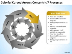 Colorful Curved Arrows Concentric 7 Processess Ppt It Business Plan PowerPoint Templates