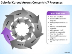 Colorful Curved Arrows Concentric 7 Processess Ppt What Is In Business Plan PowerPoint Slides