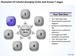 Colorful Diverging Circles And Arrows 7 Stages Circular Layout Chart PowerPoint Templates