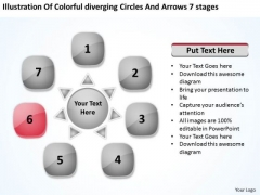Colorful Diverging Circles And Arrows 7 Stages Ppt Venn Process PowerPoint Slides