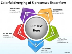 Colorful Diverging Of 5 Processes Linear Flow Charts And Networks PowerPoint Templates