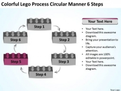 Colorful Lego Process Circular Manner 6 Steps Business Plan Outline PowerPoint Slides