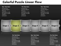 Colorful Puzzle Linear Flow Sequence Chart PowerPoint Templates
