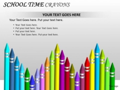 Colorful School Time Crayons PowerPoint Slides And Ppt Editable Graphics