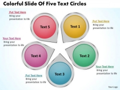 Colorful Slide Of Five Text Circles Cycle Process Network PowerPoint Templates