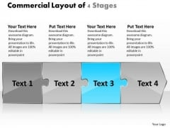 Commercial Layout Of 4 Stages Flow Chart PowerPoint Slides
