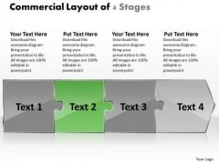 Commercial Layout Of 4 Stages Flowchart Creator PowerPoint Templates