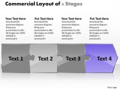 Commercial Layout Of 4 Stages Ppt Manufacturing Flow Chart Symbols PowerPoint Slides